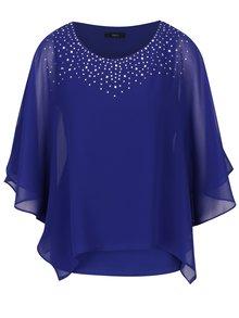 Bluza albastra cu maneci liliac si aplicatii decorative M&Co