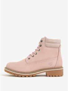 Světle růžové kožené kotníkové boty Tamaris