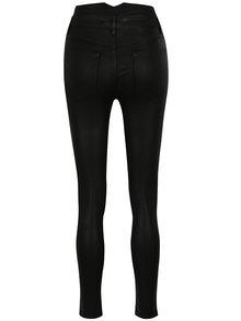 Černé skinny kalhoty s lesklou úpravou a vysokým pasem TALLY WEiJL