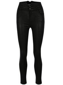 Čierne skinny nohavice s lesklou úpravou a vysokým pásom TALLY WEiJL
