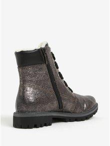 Tmavě šedé metalické kotníkové boty Tamaris