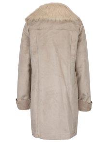 Sivý kabát s umelou kožušinou M&Co