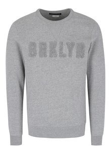 Bluza gri melanj cu aplicatie text in relief - Jack & Jones Premium Thomas