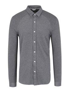 Šedé propínací slim fit tričko s límečkem Jack & Jones Core Chase