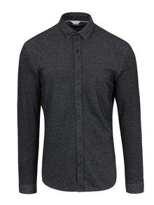 Tmavě šedé propínací slim fit tričko s límečkem Jack & Jones Core Chase