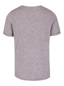Světle fialové žíhané basic tričko s příměsí lnu Jack & Jones Premium Randy
