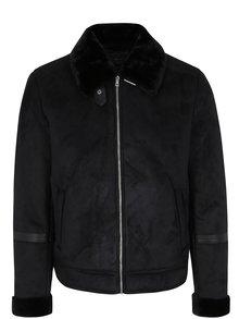 Čierna zimná bunda v semišovej úprave Jack & Jones Originals Air