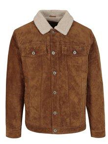 Hnedá zimná semišová bunda Jack & Jones Vintage Pride