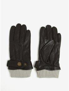 Tmavě hnědé kožené rukavice Jack & Jones Vintage Victor
