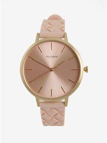 Dámske pozlátené hodinky s ružovým silikónovým remienkom Pilgrim