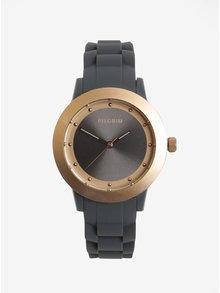 Dámske hodinky v ružovozlatej farbe so sivým silikónovým remienkom Pilgrim