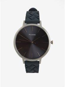 Dámske postriebrené hodinky s tmavomodrým silikónovým remienkom Pilgrim