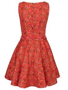 Červené kvetované šaty s opaskom a okrúhlou sukňou Closet