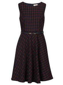 Tmavomodré kockované šaty s opaskom Louche London