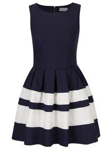 Tmavě modré šaty s bílými pruhy Closet