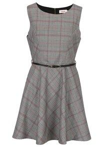 Svetlosivé kárované šaty s opaskom Louche London