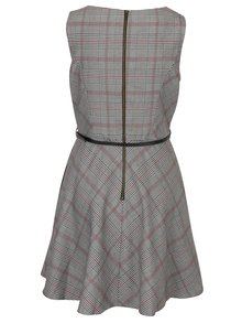 Světle šedé kostkované šaty s páskem Louche London