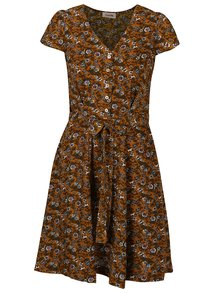 Horčicové kvetinové šaty s viazankou Louche London