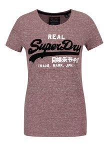Vínové dámské pruhované tričko Superdry Vintge