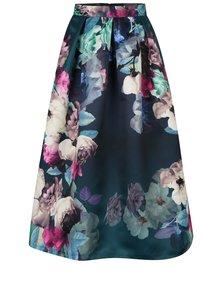Tmavě zelená květovaná midi sukně Closet