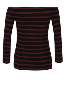 Vínovo-čierne dámske pruhované tričko s potlačou s lodičkovým výstrihom Superdry Graphic