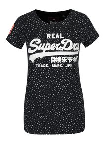 Tmavě modré dámské vzorované tričko Superdry Vintge