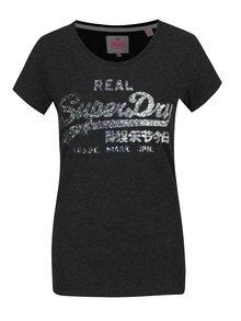 Tmavě šedé dámské tričko s flitry Superdry Vintage