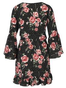 Rochie neagra cu print floral si maneci clopot Miss Selfridge