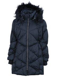Tmavě modrý prošívaný péřový zimní kabát s umělým kožíškem Name it Melia