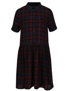 Vínovo-modré kostkované košilové šaty Superdry Philipa