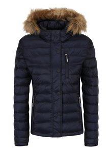 Tmavě modrá dámská prošívaná bunda s kapucí Superdry Luxe