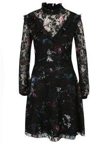 Čierne čipkované kvetované šaty s dlhým rukávom Garcia Jeans