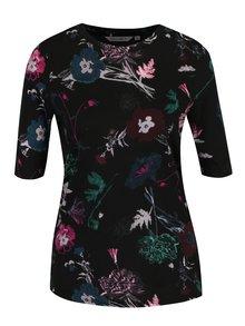 Čierne dámske kvetované tričko Garcia Jeans