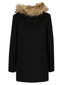 Čierny dámsky vlnený kabát s kapucňou Superdry Brooklyn