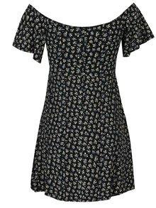 Čierne kvetované minišaty s odhalenými ramenami Miss Selfridge