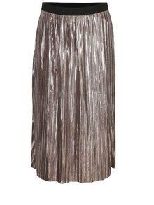 Svetlohnedá plisovaná lesklá sukňa s jemným vzorom Mela London