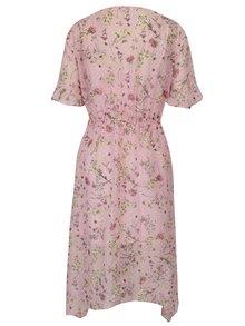 Ružové kvetované asymetrické šaty s volánmi Miss Selfridge