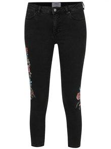 Tmavě šedé džíny s výšivkami Miss Selfridge Petites