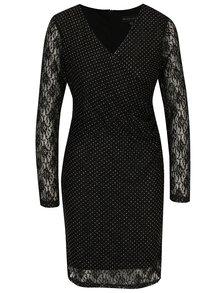 Čierne čipkované šaty s prekladaným výstrihom Mela London
