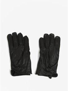 Čierne kožené rukavice so zipsom Shine Original