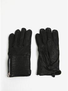 Černé kožené rukavice se zipem Shine Original