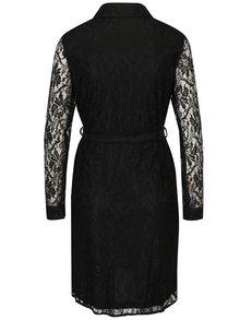 Čierne čipkované košeľové šaty so zaväzovaním v páse Mela London