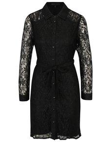 Rochie camasa neagra din dantela cu cordon Mela London