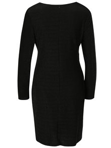 Černé šaty s překládaným výstřihem a třpytivým efektem Mela London