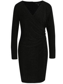 Čierne šaty s prekladaným výstrihom a trblietavým efektom Mela London