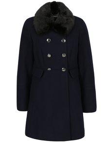 Palton bleumarin cu guler din blana artificiala Dorothy Perkins Petite