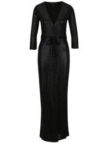 Rochie maxi neagra petrecuta glossy Mela London