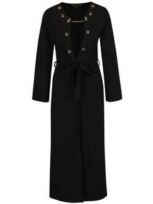Černý dlouhý lehký kabát s detaily ve zlaté barvě Mela London