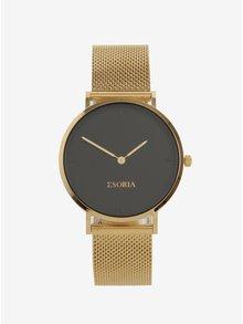 Ceas auriu&negru cu bratara metalica pentru femei Esoria Akyla