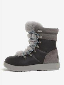 Šedé zimní voděodolné kotníkové kožené zimní boty UGG Viki